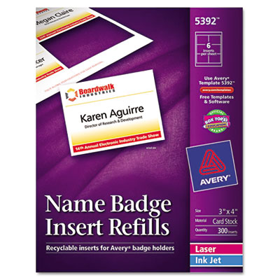 Avery 5392 3quot x 4quot name badge insert sheets for Avery 3x4 labels