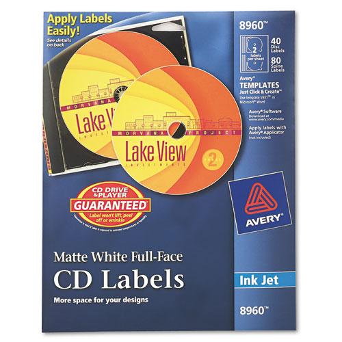 avery 8960 matte white cd full face labels