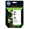 Original HP 74 HP 75 CC659FN Black / Color Ink Cartridge Combo Pack