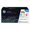 Genuine HP 124A CE257A Color Toner Cartridge 3 Pack