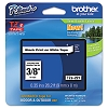 Brother TZE221 3/8 inch Laminated Black on White Tape