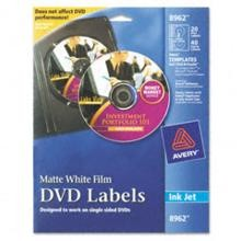 Avery 8962 DVD Matte White Labels 20/Pack
