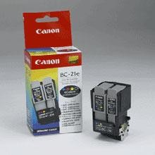 Original Canon BC-21e Printhead with Black and Color Ink Cartridges