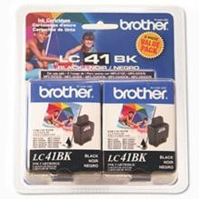Original Brother LC41BK Black Ink Cartridge 2 Pack
