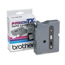 Brother TX2411 3/4 in. Laminated Black on White Tape