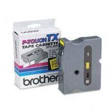 Brother TX6511 1 in. Laminated Black on Yellow Tape