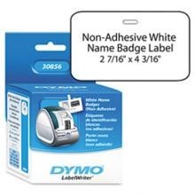 Dymo 30856 Non-Adhesive Name Badge Label w/Clip Hole, 4-3/16 x 2-7/16 White