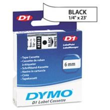 Dymo 43613 D1 Tape Cartridge, 1/2in x 23ft, Black on White