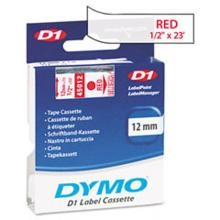 Dymo 45012 D1 Tape Cartridge, 1/2in x 23ft, Red on Clear