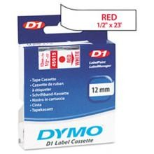 Dymo 45015 D1 Tape Cartridge, 1/2in x 23ft, Red on White