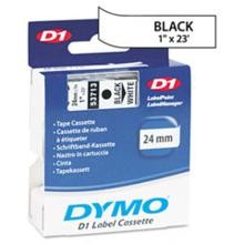 Dymo 53713 D1 Tape Cartridge, 1in x 23ft Black/White