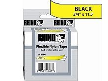 Dymo 18491 RhinoPRO Black on Yellow Flexible Nylon Industrial Label Tape, 3/4 x 11.5'