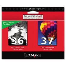 Original Lexmark 18C2229 #36 and #37 Black and Color 2 Pack