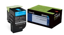 Original Lexmark 801HC High Yield Cyan Return Program Toner