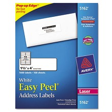 "Avery 5162 1 1/3"" x 4"" White Address Labels"
