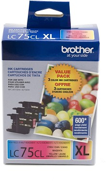 Original Brother LC75 High Capacity Color Ink Cartridge 3 Pack