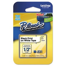 Brother M231 1/2 in. Non-Laminated Black on White Tape