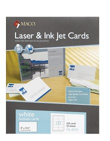 "Maco 2"" x 3 1/2"" White Business Cards (Interchangeable w/ Avery# 5371)"