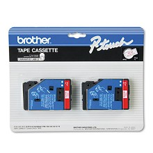 Brother TC21 1/2 in. Laminated Red on White Tape 2 Pack