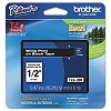 Brother TZE335 1/2 inch Laminated White on Black Tape