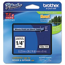 Brother TZE111 1/4 in. Laminated Black on Clear Tape