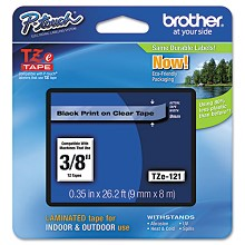 Brother TZE121 3/8 in. Laminated Black on Clear Tape