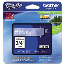 Brother TZE145 3/4 in. Laminated White on Clear Tape