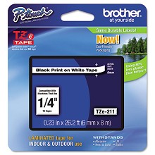 Brother TZE211 1/4 in. Laminated Black on White Tape