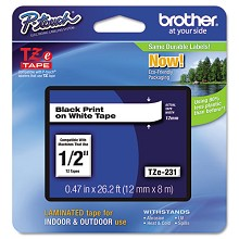 Brother TZE231 1/2 in. Laminated Black on White Tape