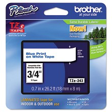Brother TZE243 3/4 in. Laminated Blue on White Tape