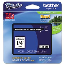 Brother TZE315 1/4 in. Laminated White on Black Tape