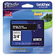 Brother TZE345 3/4 in. Laminated White on Black Tape