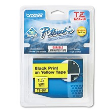 Brother TZE661 1.5 in. Black on Yellow P-Touch Tape