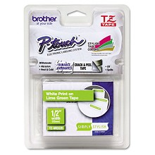 "Brother TZEMQG35 1/2"" Simply Stylish Tapes White on Lime Green Tape"