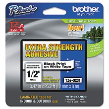 Brother TZES231 1/2 in. Extra Strength Super Adhesive Black on White Industrial Tape