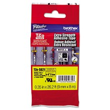 Brother TZES621 3/8 in. Extra Strength Super Adhesive Black on Yellow