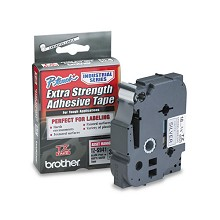 Brother TZES941 3/4 in. Extra Strength Super Adhesive Black on Matte Silver Industrial Tape
