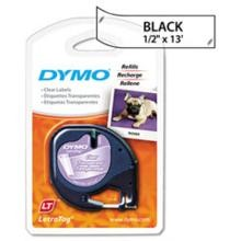 Dymo 16952 LetraTag Printer Tape Cassette, 1/2in x 13ft Clear