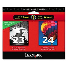 Original Lexmark 18C1571 2 Pack of #23 Black and #24 Color Ink Cartridges