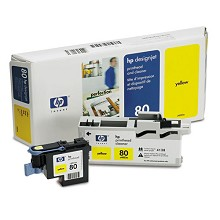 Genuine HP 80 C4823A Yellow Ink Printhead and Cleaner Value Pack