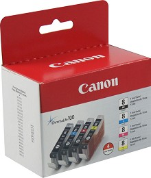 Original Canon CLI-8 Black and Color Ink Cartridge 4 Pack