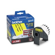 Brother DK2606 2-3/7 in. Black on Yellow Continuous Length Paper Label