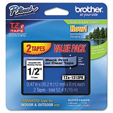 Brother TZE131 1/2 in. Laminated Black on Clear Tape 2 Pack