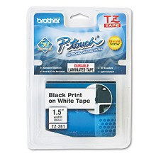 Brother TZE261 1-1/2 in. Laminated Black on White Tape