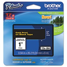 "Brother TZE354 1"" Laminated Gold on Black P-Touch Tape"