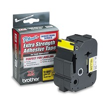 Brother TZES661 1-1/2 in. Extra Strength Super Adhesive Black on Yellow Industrial Tape